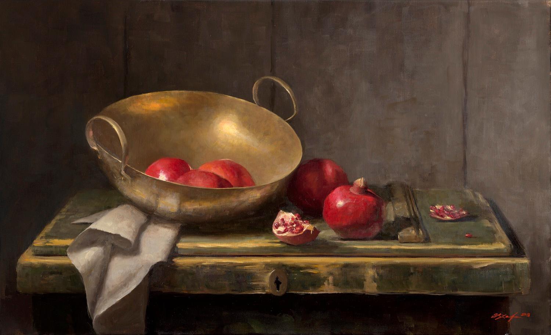 Pomegranates with Brass Bowl