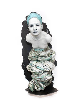 """Tethered"", Wall-Mounted Sculpture, Figurative, Ceramic, Metal, Blue, White"