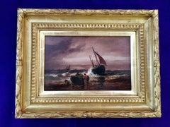Victorian marine scene of fishing boats in a rough sea
