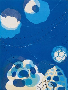 Abacus XXI, blue and white abstract monoprint on paper