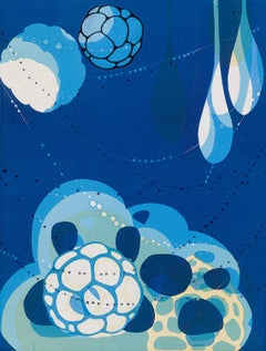 Abacus XXII, blue and white abstract monoprint on paper