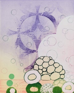 Chimera's Trove, purple and green monoprint on paper, framed
