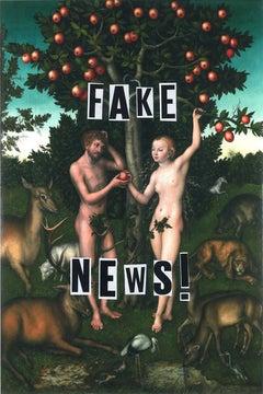 Fake News, Collage, Feminist Art, Figurative, Mythology, Signed