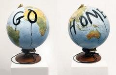 Go Home, Sculpture, Globe, World Map, Political Art, Signed