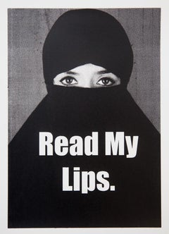 Read My Lips, Screen Print, Black and White, Political Art, Signed