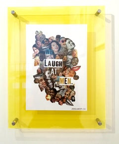 We Laugh At Men, Collage, Feminist Art, Mounted on Plexiglass, Signed, Framed