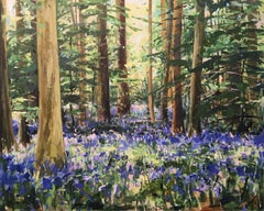 Finding You by Sarah Ollerenshaw - abstract purple blue wood landscape painting