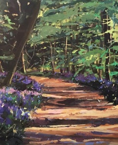 You Go Before Me, landscape art , purple, brown and green painting