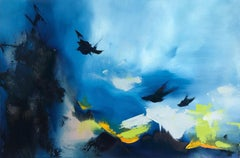 Blue Black Point, Abstract Oil Painting
