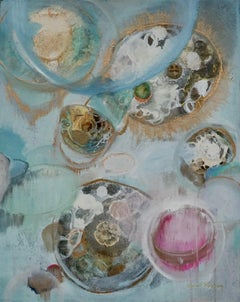 Thought Bubbles, Sarah Raskey. Mixed media on canvas