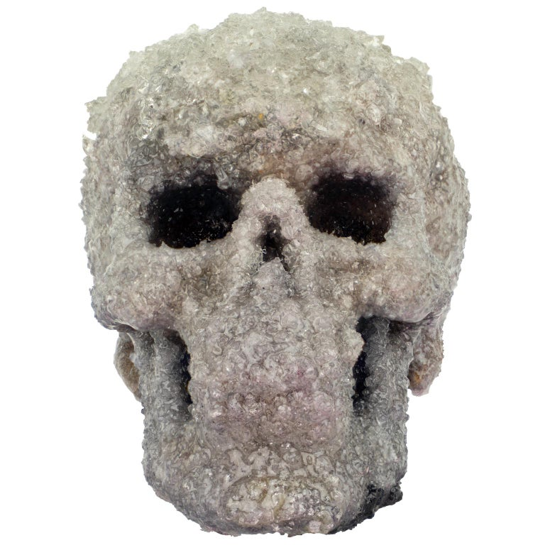 Crystal Skull Sculpture, Sarah Raskey - Gray Figurative Sculpture by Sarah Raskey
