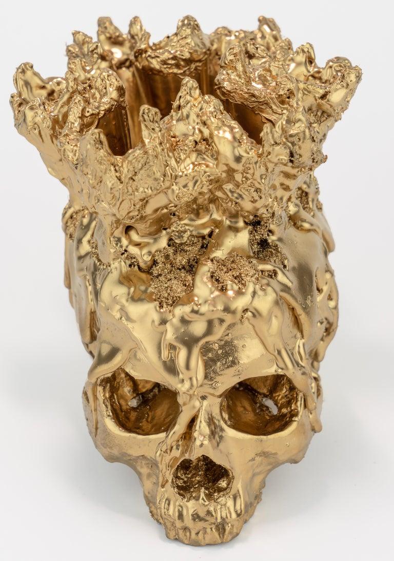 Gold Skull Vase Sculpture, Sarah Raskey For Sale 6