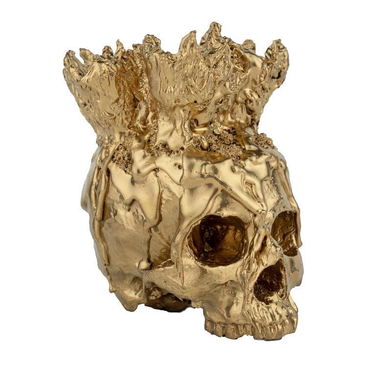 Gold Skull Vase Sculpture, Sarah Raskey - Brown Figurative Sculpture by Sarah Raskey
