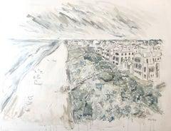 Alys Beach II by Sarah Robertson, Impressionist Mixed Media Coastal Painting