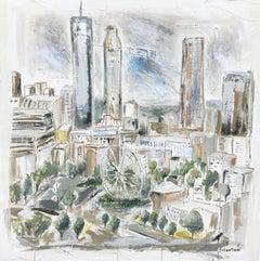 Atlanta, Georgia - Downtown by Sarah Robertson Mixed Media Landscape Painting