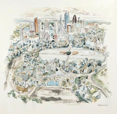Atlanta, Piedmont Park, Large Square Mixed Media Landscape Painting