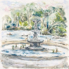 Bethesda Fountain/Central Park, Sarah Robertson Mixed Media on Canvas Painting