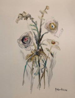 Bouquet de Fleurs III by Sarah Robertson, Vertical Mixed Media Floral Painting