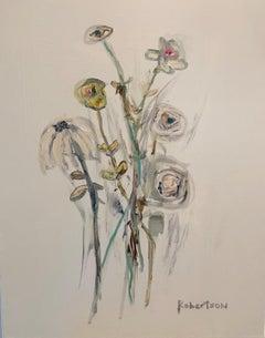 Bouquet de Fleurs IV by Sarah Robertson, Vertical Mixed Media Floral Painting