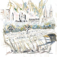 Bow Bridge Central Park, Square Impressionist Mixed Media on Canvas Painting