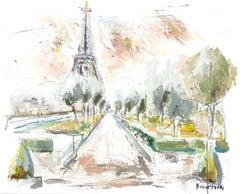 Champs de Mars, Petite Impressionist Parisian Painting