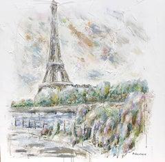 Eiffel on River Seine, Impressionist Mixed Media on Canvas Parisian Scene