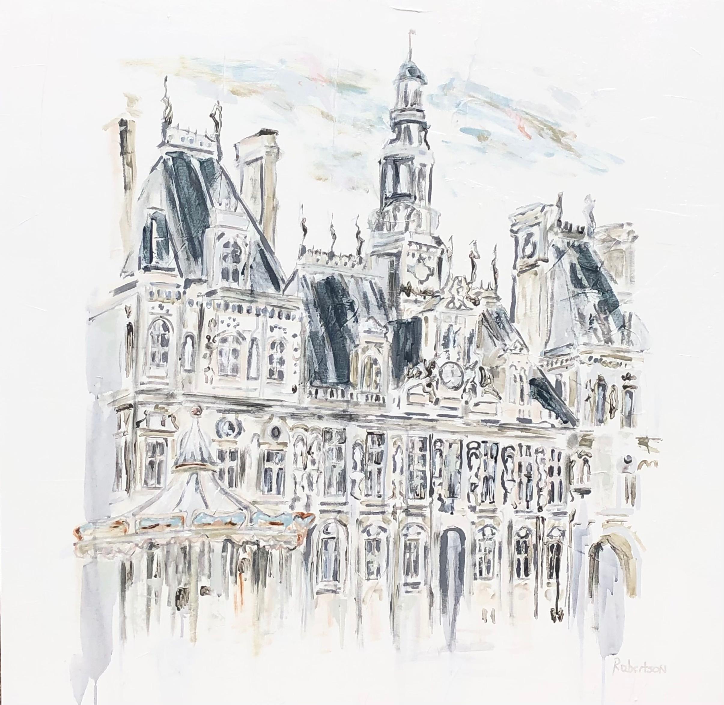 Hotel de Ville, Paris, by Sarah Robertson Impressionist Canvas Painting