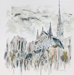 Notre Dame - Paris by Sarah Robertson, Impressionist Mixed Media Painting