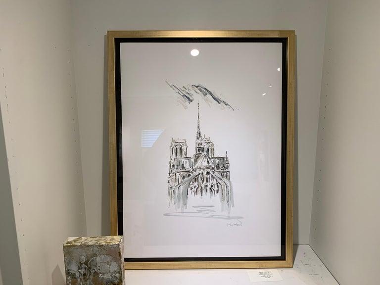 Notre Dame, Paris by Sarah Robertson Paris Painting on Paper with Blue Painting For Sale 2