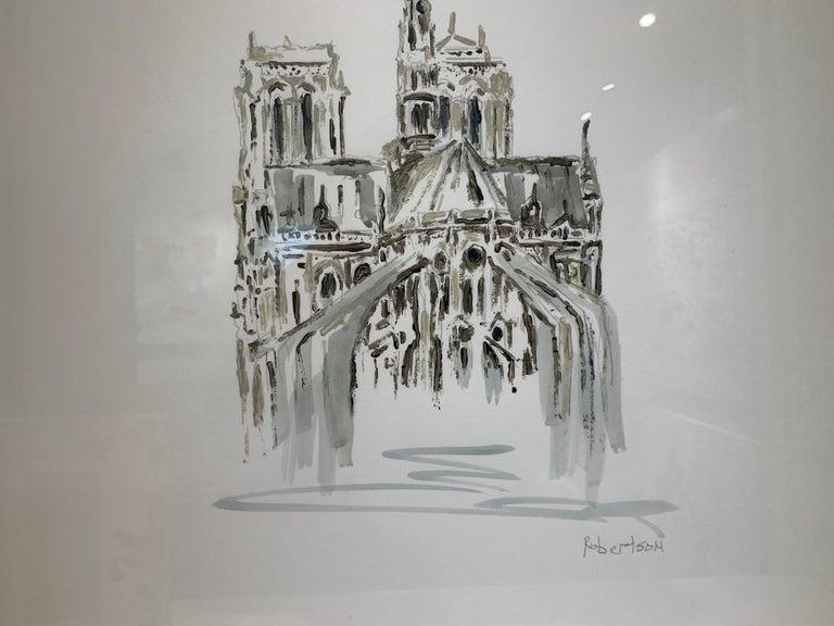 Notre Dame, Paris by Sarah Robertson Paris Painting on Paper with Blue Painting For Sale 6