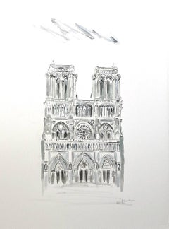 Notre Dame, West Facade by Sarah Robertson, Framed Paris Painting on Paper