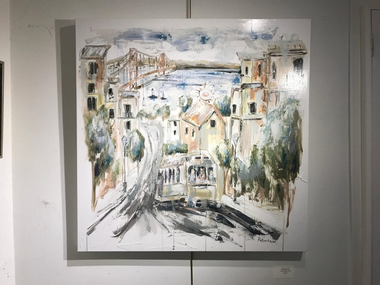 San Francisco View by Sarah Robertson, Square Impressionist Cityscape Painting For Sale 2