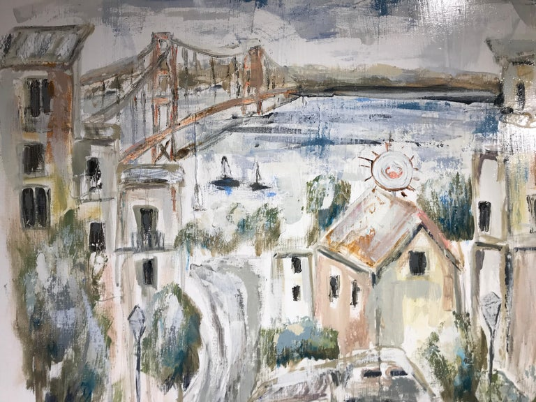 San Francisco View by Sarah Robertson, Square Impressionist Cityscape Painting For Sale 4