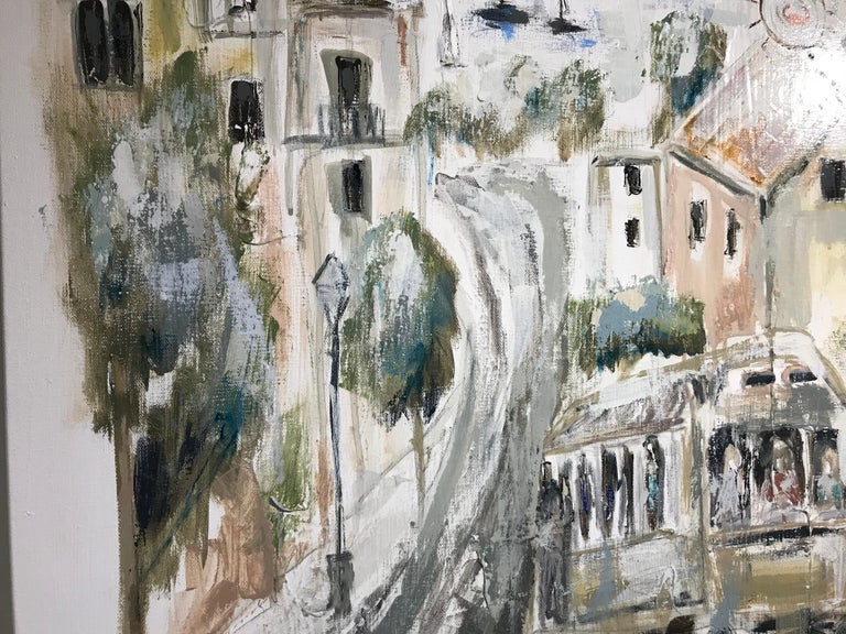 San Francisco View by Sarah Robertson, Square Impressionist Cityscape Painting For Sale 5