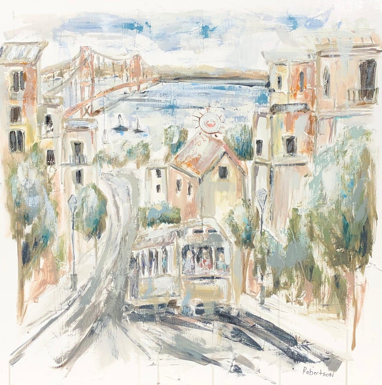 'San Francisco View' is a medium size mixed media on canvas painting of square format, created by American artist Sarah Robertson in 2019. Featuring a soft palette made of white, green, blue and orange tones, the painting depicts a charming view of