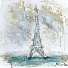 The Eiffel Tower, Sarah Robertson Petite Mixed Media on Canvas Parisian Painting