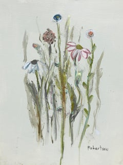 The Glory of the Garden I by Sarah Robertson, Vertical Mixed Media Painting