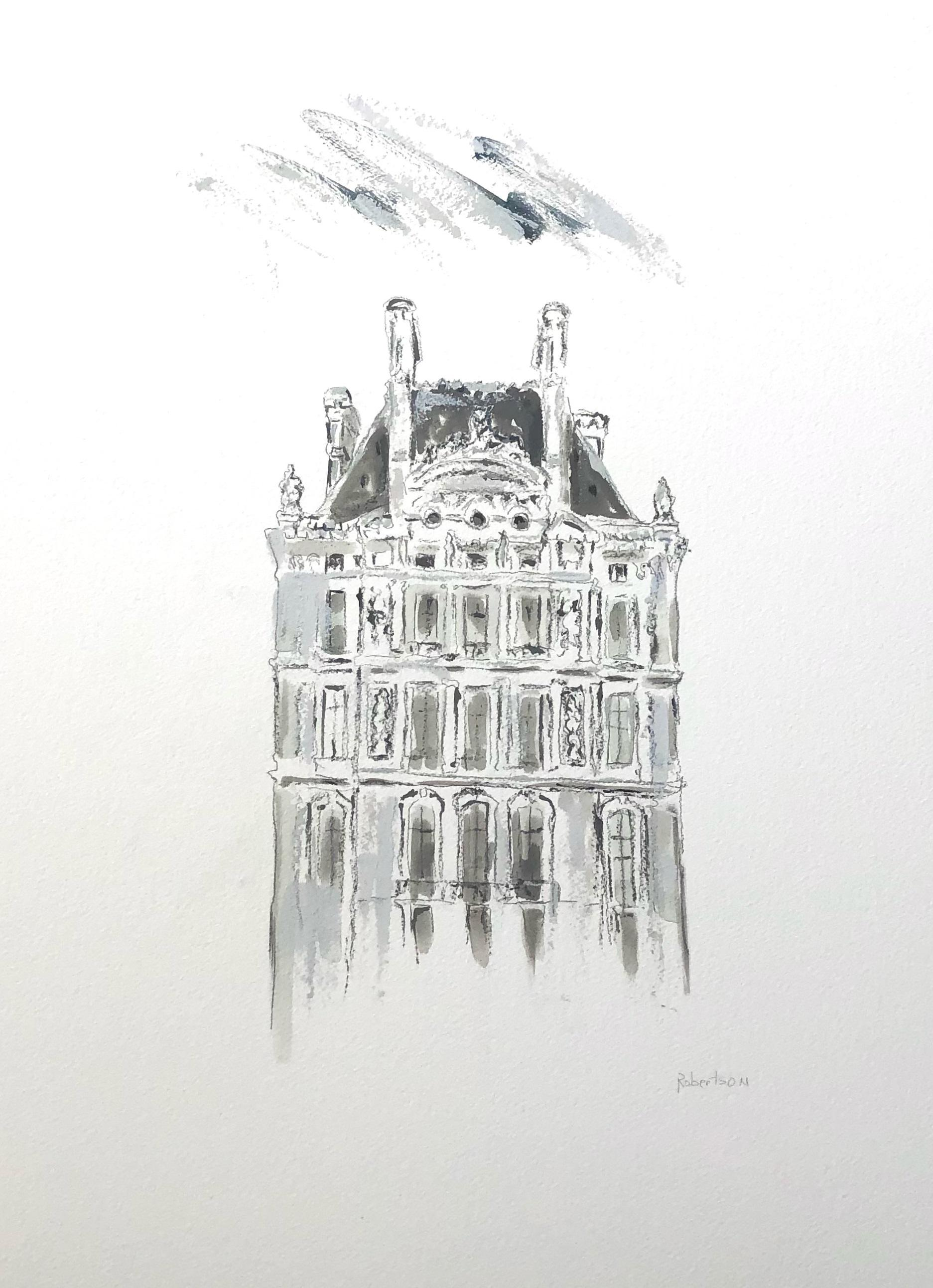 The Louvre by Sarah Robertson Paris Painting on Paper with Black and White