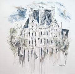 The Louvre, Paris, by Sarah Robertson, Gray, Blue Impressionist Canvas Painting