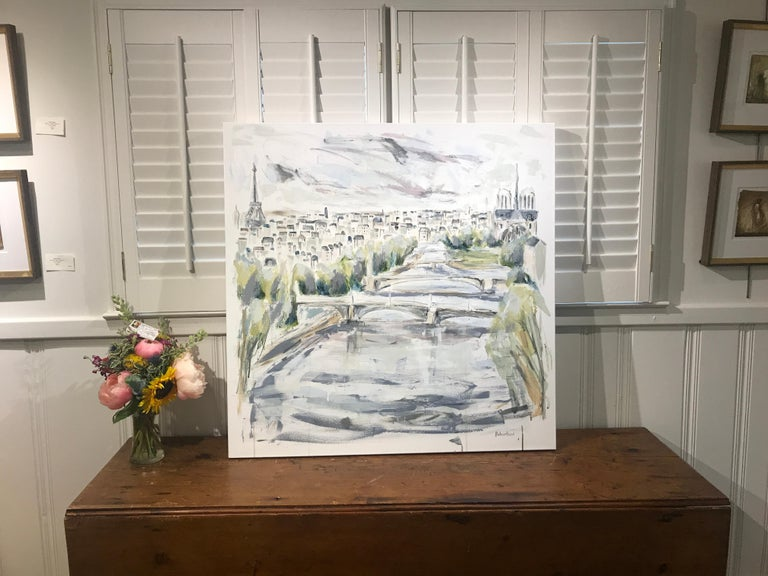 The River Seine - Paris by Sarah Robertson, Large Mixed Media on Canvas Painting 1