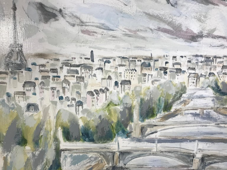 The River Seine - Paris by Sarah Robertson, Large Mixed Media on Canvas Painting 3
