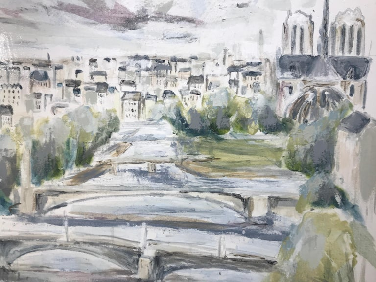 The River Seine - Paris by Sarah Robertson, Large Mixed Media on Canvas Painting 4