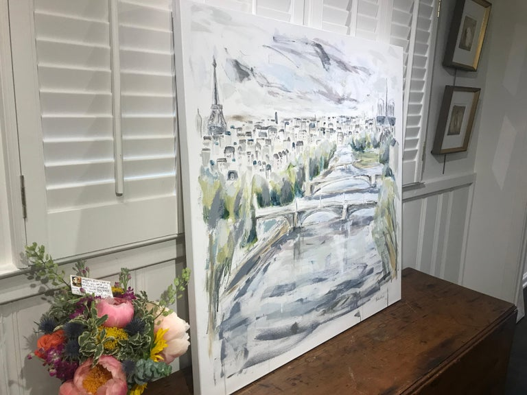 The River Seine - Paris by Sarah Robertson, Large Mixed Media on Canvas Painting 6