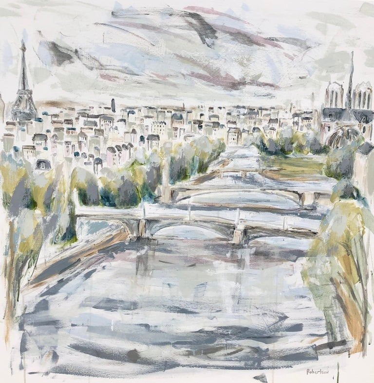 'The River Seine - Paris' is a large mixed media on canvas Impressionist painting created by American artist Sarah Robertson in 2019. Featuring an exquisite view of the River Seine crossing the City of Lights, this painting appeals to our emotions.