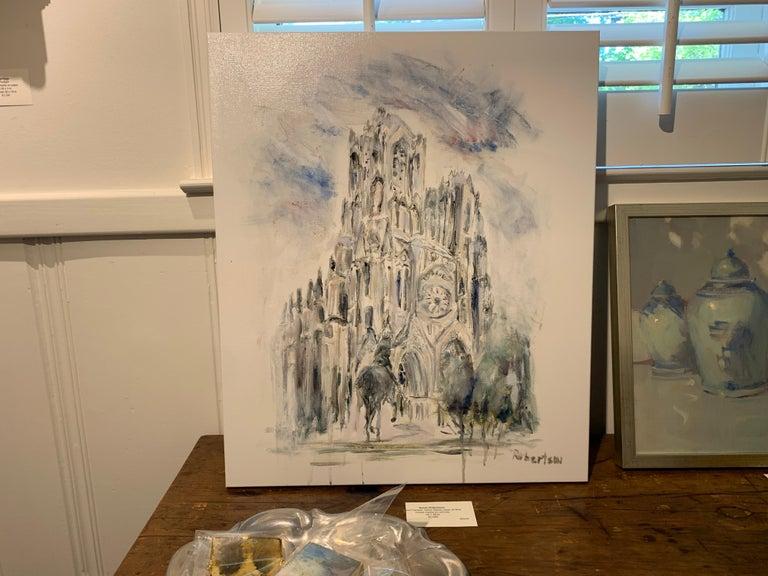 West Facade Notre Dame Joan of Arc, Sarah Robertson Paris Canvas Painting For Sale 1