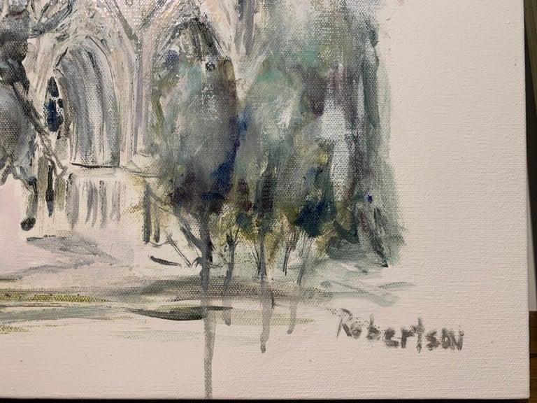 West Facade Notre Dame Joan of Arc, Sarah Robertson Paris Canvas Painting For Sale 2