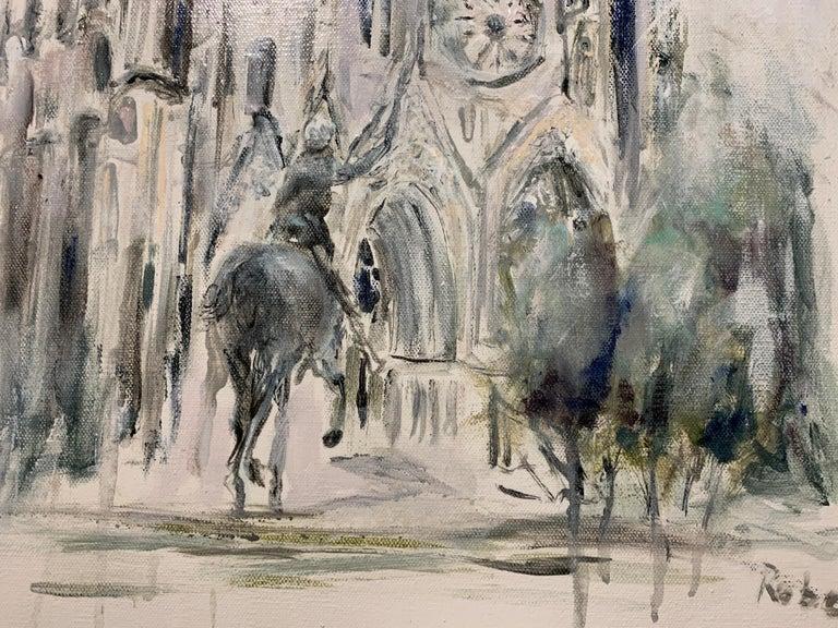 West Facade Notre Dame Joan of Arc, Sarah Robertson Paris Canvas Painting For Sale 3