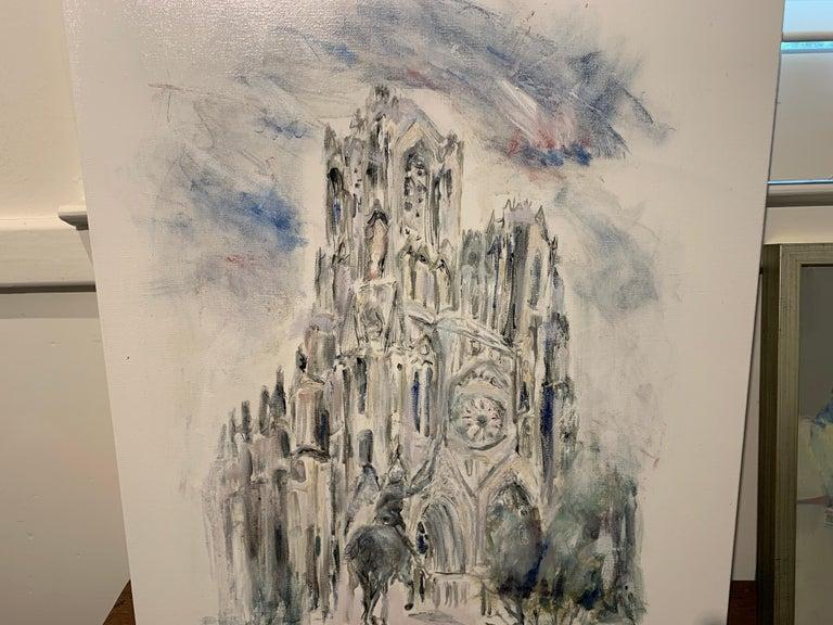 West Facade Notre Dame Joan of Arc, Sarah Robertson Paris Canvas Painting For Sale 4