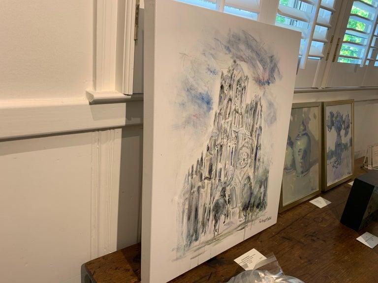 West Facade Notre Dame Joan of Arc, Sarah Robertson Paris Canvas Painting For Sale 5
