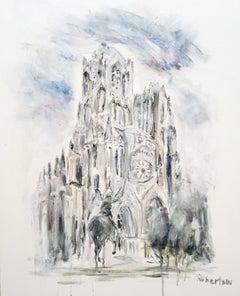 West Facade Notre Dame Joan of Arc, Sarah Robertson Paris Canvas Painting